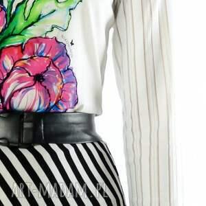 białe bluzki bluzka laura - z printem