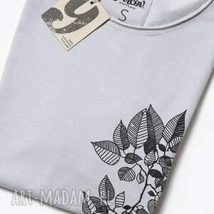 bluzki nadruk leaves szara koszulka oversize