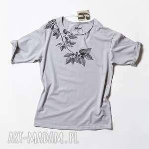 ręcznie zrobione bluzki tshirt leaves szara koszulka oversize