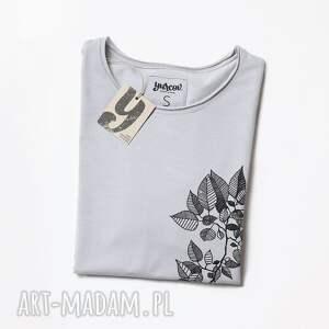 unikatowe bluzki tshirt leaves szara koszulka oversize