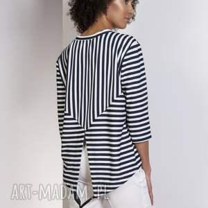 ręcznie wykonane bluzki bluzka luźna bluzka-frak, blu140 paski