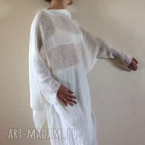 bluzki sweter oryginalna asymetryczna lniana