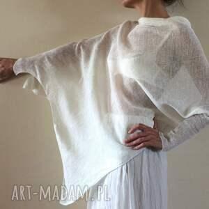 bluzki bluzka oryginalna asymetryczna lniana