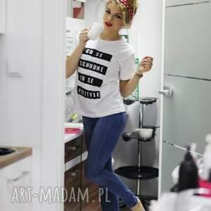 intrygujące bluzki koszulka oryginalna biała