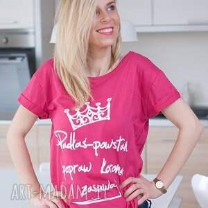 wyraziste bluzki fajna bluzka różowa bawełniana koszulka t shirt