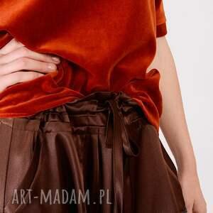 handmade bluzki welur ruda bluzka z weluru