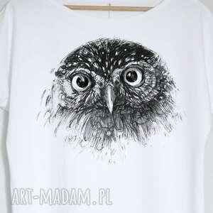 intrygujące bluzki bluzka sowa koszulka bawełniana biała s/m