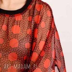 czerwone bluzki kropki szyfonowa bluzka