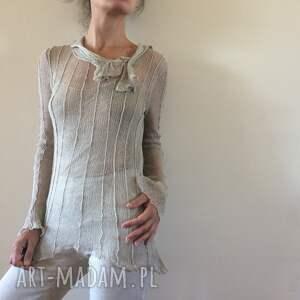 elegancka bluzki transparentna lniana bluzka