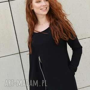 bluzki bluzka asymetryczna tunika czarna luźna z zamkiem