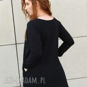 bluzka asymetryczna bluzki tunika czarna luźna z zamkiem