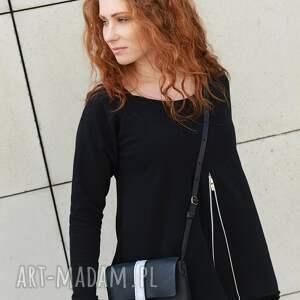 wyraziste bluzki bluzka asymetryczna tunika czarna luźna z zamkiem