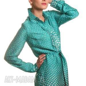 oryginalne bluzki groszki tunika z żabotem