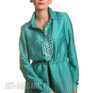 zielone bluzki groszki tunika z żabotem