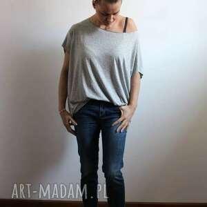 Szary mary bluzki: Zwiewna szara bluzka oversize melanż lejaca