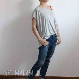 bluzki: Zwiewna szara bluzka oversize szary melanż