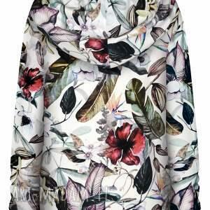 urokliwe bluzy dzianinowa biała bluza damska w kwiaty
