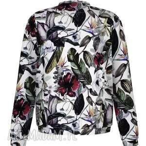 trendy bluzy dzianinowa biała bluza bomberka, damska