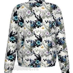 bluzy bawełniana biała bomberka damska w delikatne