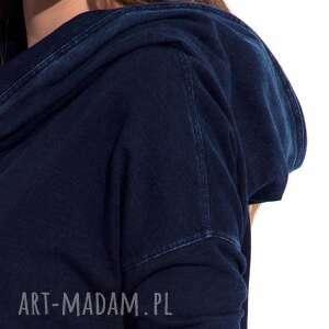 bluzy damska bluza granatowa z kapturem