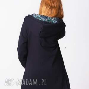 bluzy desing everyday blouse/ coat czarna kaptur wzór