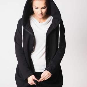 TrzyForU bluzy fashion bluza damska na zamek czarna