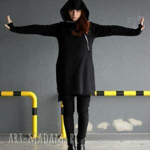 bluzy płaszcz bluza damska czarna asymetryczna