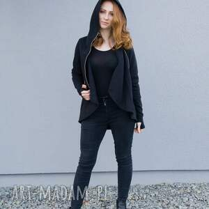 bluzy bluza damska, czarna asymetryczna