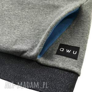 niebieskie bluzy bluza-z-kominem bluza damska z kominem i kapturem
