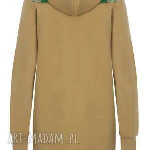 zielone bluzy bluza musztardowa dresowa z kapturem jungle