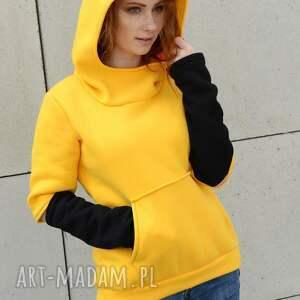żółte bluza z-kapturem kangu z kapturem asymetryczna