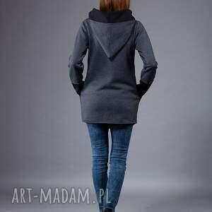bluzy długa-bluza bluza saloni long z kapturem