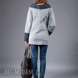 niebanalne bluzy bluza na zamek saloni long z kapturem