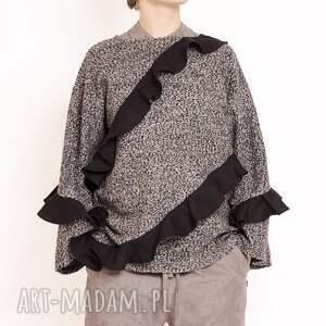 czarne bluzy rekawy bluza z falbankami