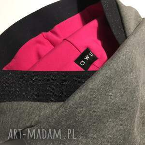 handmade bluzy bluzazdzianiny bluza z kapturem i kominem fuksja