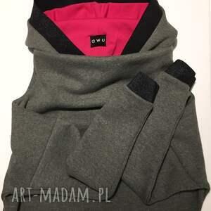 bluzafuksja bluzy różowe bluza z kapturem i kominem fuksja