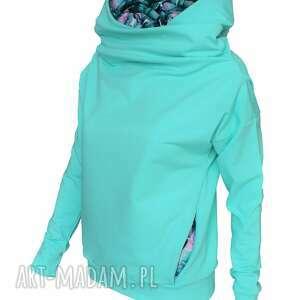 turkusowe bluzy mięta bluza z komino - kapturem