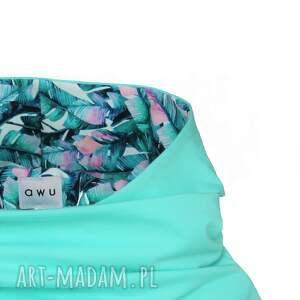 miętowa-bluza bluzy bluza z komino - kapturem mięta
