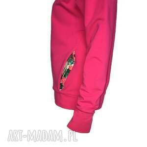 eleganckie bluzy fuksja bluza z kominokapturem
