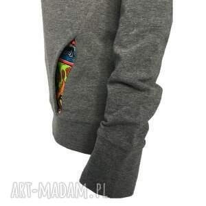 komino-kaptur bluzy bluza z kominokapturem szary melanż
