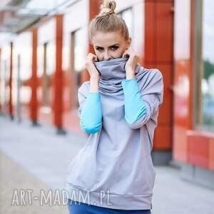 turkusowe bluzy chimney bluza dresowa