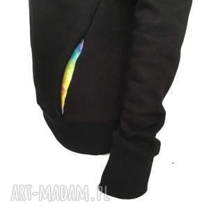 gustowne bluzy czarna bluza z komino kapturem