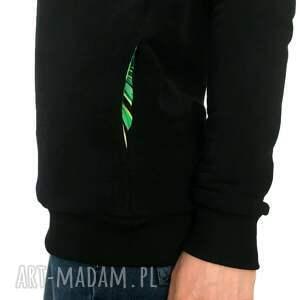 ręcznie robione bluzy ciepla bluza czarna z komino - kapturem