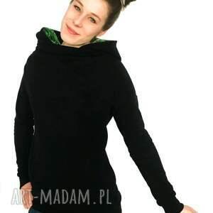 ręcznie robione bluzy bluza czarna z komino - kapturem