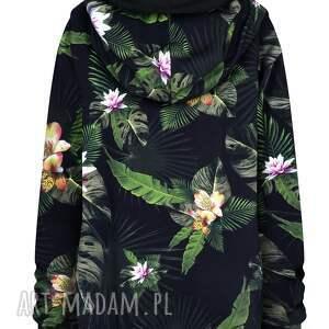 atrakcyjne bluzy dresowa czarna bluza kangurka w kwiaty