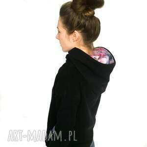 bluza kobieca czarna z kimono - kapturem