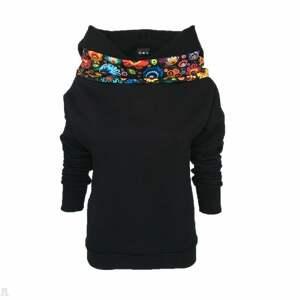 czarne bluzy czarna bluza folkowa z kominem