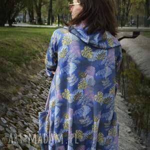 bluzy kurtka z-kapturem długa bluza oversize w liście