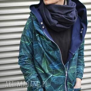 Agagu bluzy: Długa bluza oversize z motywem liści bananowców, ogromny kaptur XL - Ręcznie dresowa