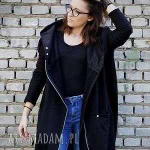 eleganckie bluzy bluza z-kapturem długa oversize czarna